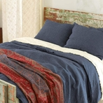 Parchment Linen Checkerboard Ink Duvet Cover