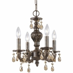 Paris Flea Market Four Light Golden Teak Crystal Bronze Mini Chandelier