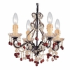 Paris Flea Market Four Light Murano Crystal Dark Rust Mini Chandelier