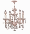 Paris Flea Market Mini Chandelier in Blush with Murano Crystals