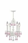 Paris Flea Market Mini Chandelier in White with Pink Murano Crystals