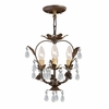 Paris Flea Market Three Light Dark Rust Mini Chandelier