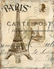 Paris Lithograph Eiffel Tower Canvas Wall Art