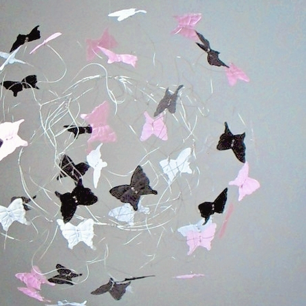 Paris Pink and Black Butterfly Mobile