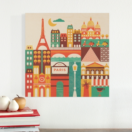 Paris Square Jumbo Wood Panel Art Print