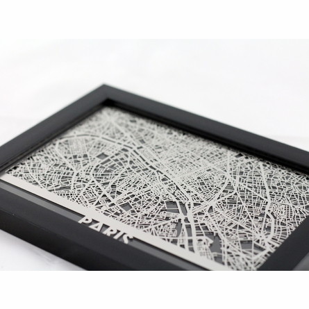 Paris Stainless Steel Framed Map