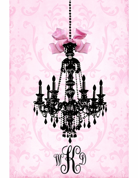 Parisian Chandelier Monogrammed Wall Hanging - Licorice Framboise