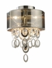 Parisienne Two Light Semi Flush in Silver Leaf Finish