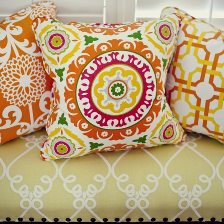 Parterre Orange Throw Pillow