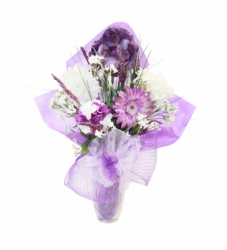 Passionate Purple Budding Beauty Flower Hat Bouquet