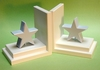 Pastel Blue Star Bookends with White Base