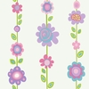 Pastel Flower Garden Stripe Wallpaper