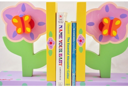 Pastel Flowers Wooden Bookends