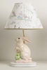 Pastel Pink Lace Bunny Lamp On White Base With Fairytale Shade