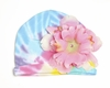 Pastel Tie Dye Hat with Pale Pink Peony
