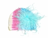 Pastel Tie Dye Hat with Teal Curly Marabou