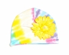 Pastel Tie Dye Hat with Yellow Daisy