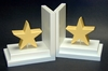 Pastel Yellow Star Bookends with White Base