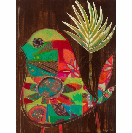 Patchwork Bird Canvas Wall Art