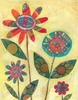 Patchwork Flowers Art Print