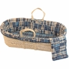 Patchwork Plaid Moses Basket Set in Blue