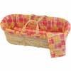 Patchwork Plaid Moses Basket Set in Pink