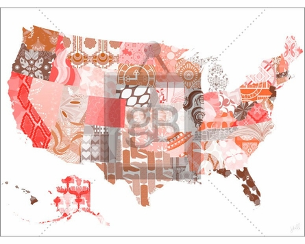Patriotic Patterns Warm Canvas Wall Art