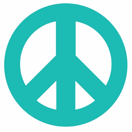 Peace Sign and Polka Dots in Teal Wall Sticker