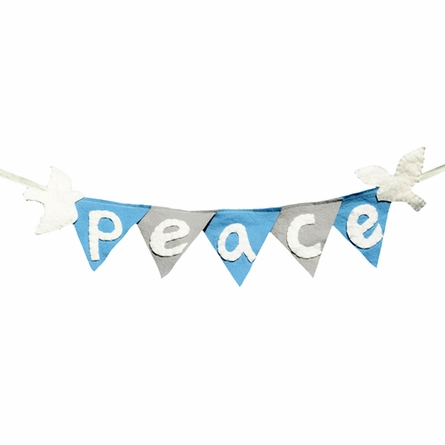Peace Winter Holiday Flag Banner