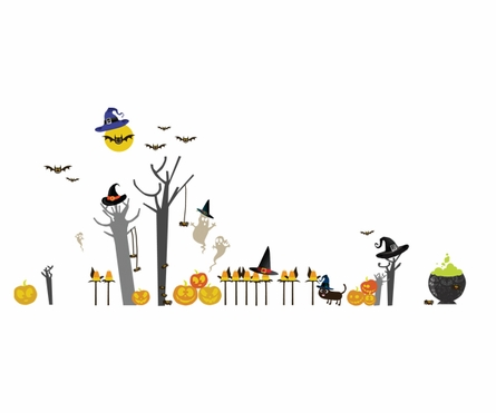 Peek-A-Boo Halloween Fabric Wall Decals
