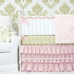 Peggy's Pink and Gold Damask Crib Bedding Set
