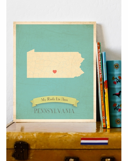 Pennsylvania My Roots State Map Art Print