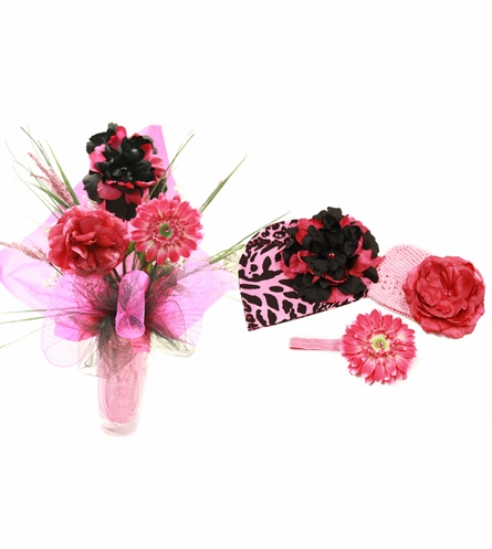 Perfectly Pink Leopard Budding Beauty Flower Hat Bouquet