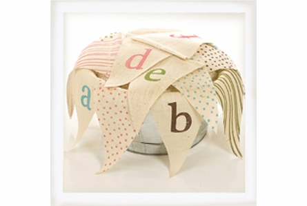 Personalized Alphabet Flag Banner - Oyster Off White