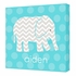 Personalized Aqua Blue Elephant Canvas Reproduction