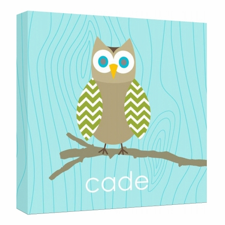 Personalized Aqua Blue Owl Canvas Reproduction