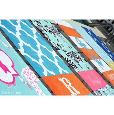 Personalized Beach Towel in Happy Duo