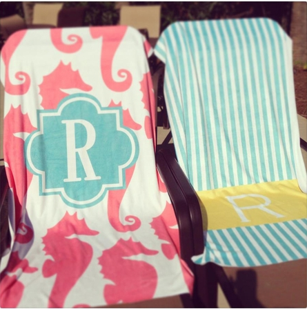 Personalized Beach Towel in Ikat Chevron