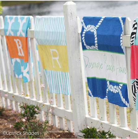 Personalized Beach Towel in Neopolitan Stripe