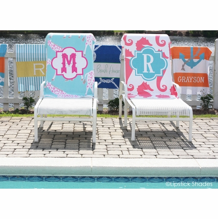 Personalized Beach Towel in Preppy Coral