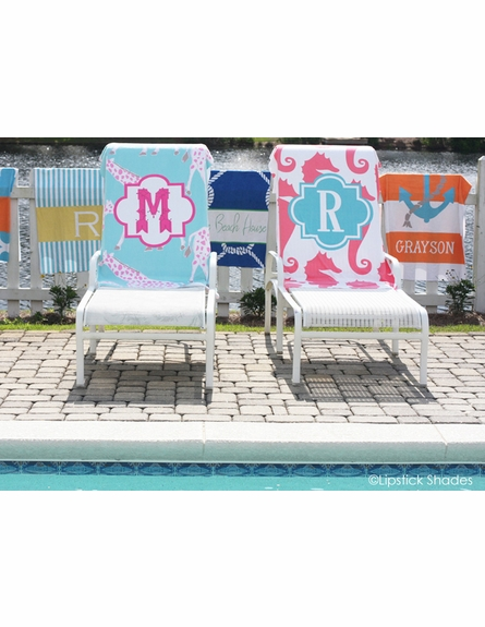 Personalized Beach Towel in Seersucker