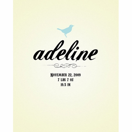 Personalized Birth Announcement Print With Baby Bird