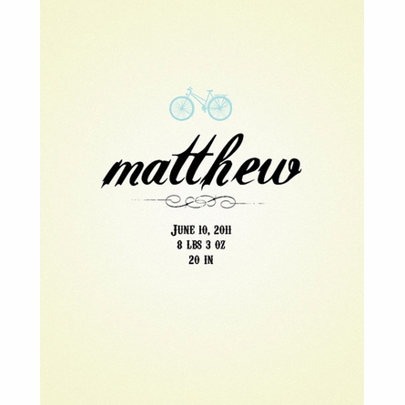 Personalized Birth Announcement Print With Bicycle