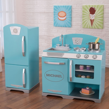 Personalized Blue Retro Play Kitchen and Refrigerator