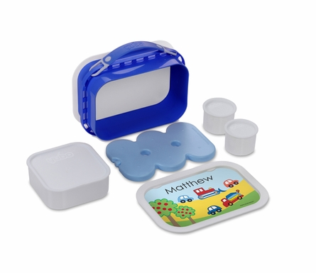Personalized Cars & Trucks Lunch Box - Blue