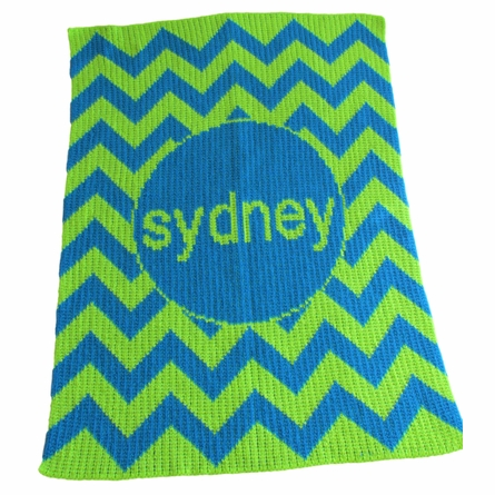 Personalized Chevron Name Blanket