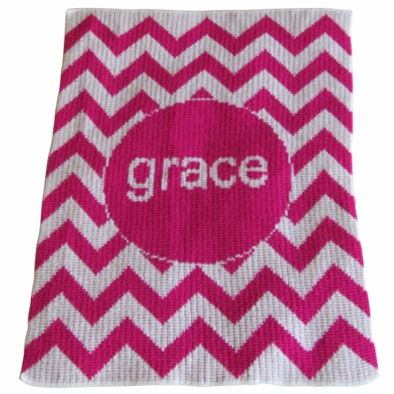 Personalized Chevron Name Stroller Blanket