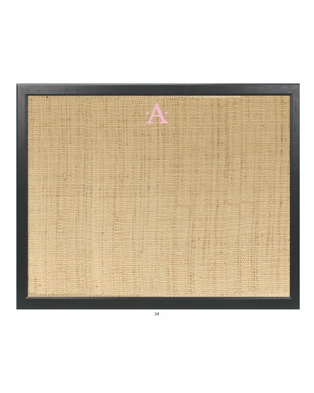 Personalized Embroidered Initial Bulletin Board With Barnwood Frame