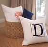 Personalized Embroidered Initial Linen Pillow