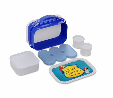 Personalized Fire Truck Dog Lunch Box - Blue